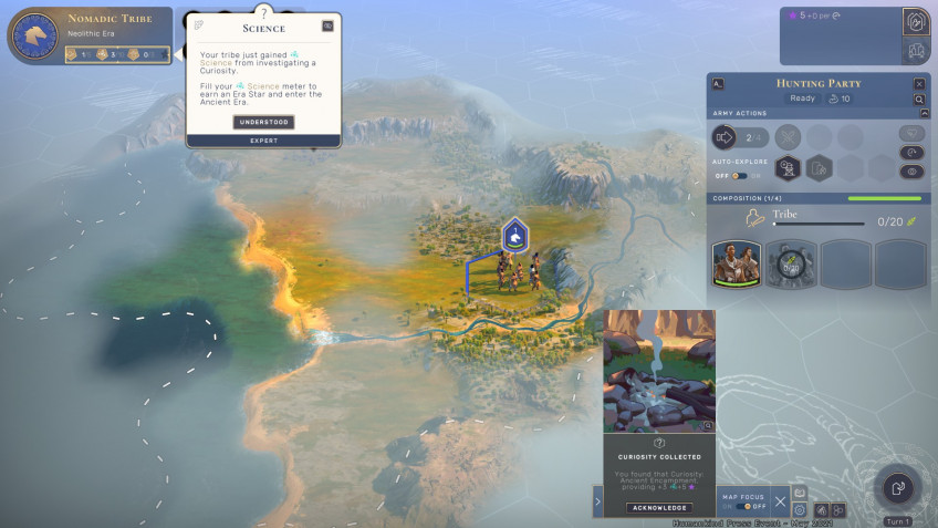 To get out of the Neolithic, nomadic tribes need to actively explore the map, hunt and explore the world around them.  So the early stage of the game is relatively cheerful and does not have time to get bored.