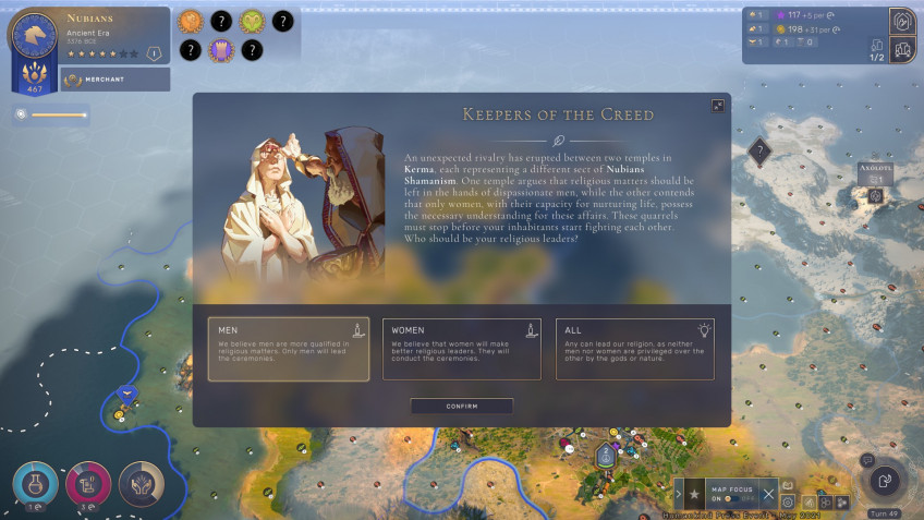 The game makes you puzzle over a variety of solutions: from everyday issues to problems of national importance.  What pets to breed for rodent hunting?  Should gender equality be allowed in the religious hierarchy?  What to do with eunuchs?