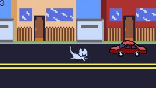 A cat dodges traffic (itch)
