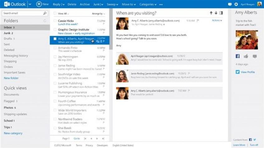 Outlook.com вышел из стадии бета-тестирования