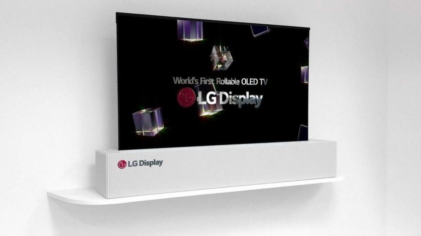 Телевизор LG OLED TV R скручивается внутрь подставки
