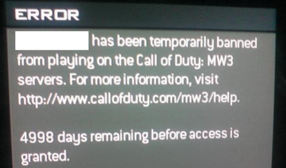 Игрока в Modern Warfare3 забанили на 5000 дней