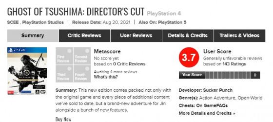 Игроки «обрушили» рейтинг режиссёрской версии Ghost of Tsushima на Metacritic 1