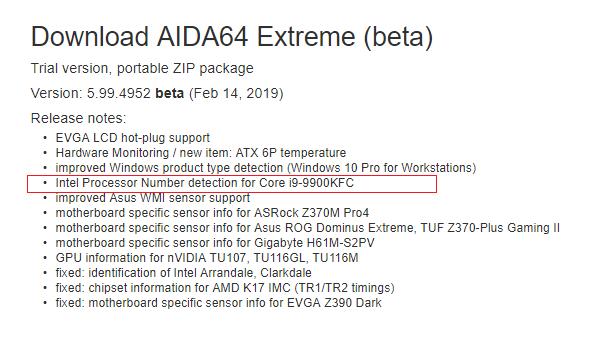 Слухи: Intel готовит процессор Core i9-9900KFC