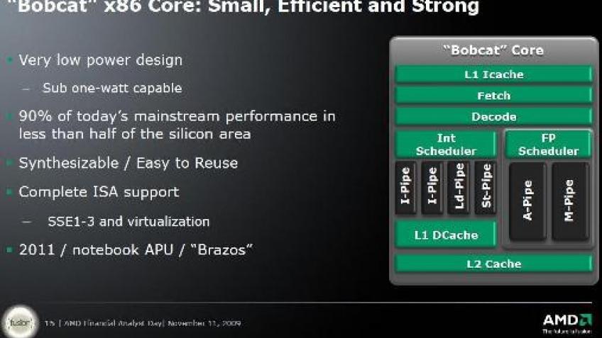 AMD рассказала о Bobcat, конкуренте Intel Atom