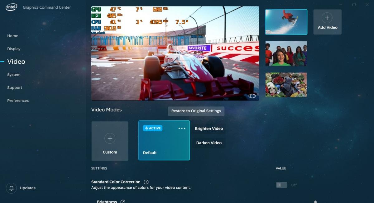 Intel показала новый центр управления настройками графики