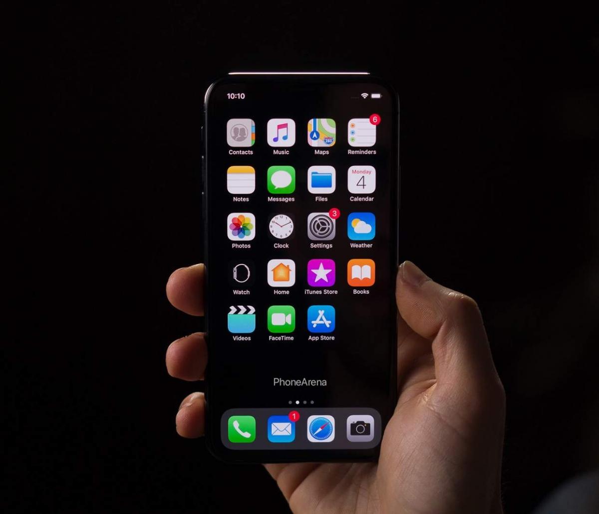Вот так может выглядеть iPhone XI с iOS13 и тёмной темой