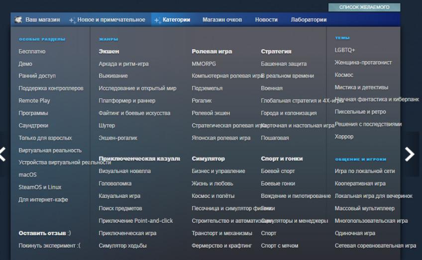 Свежий эксперимент Steam добавляет новые категории: поджанры, темы, общение1
