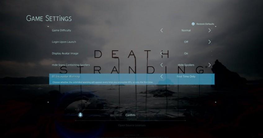 В Death Stranding наконец-то можно пропускать предупреждение о BT