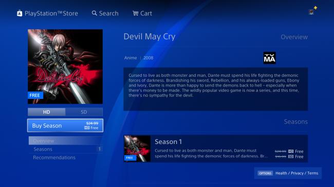 Мультсериал по Devil May Cry стал бесплатным в магазине PlayStation