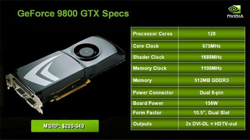 Спецификации GeForce 9800 GTX подтверждены