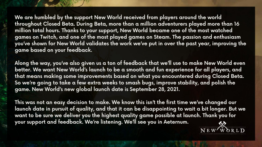 Amazon опять отложила New World — теперь до 28 сентября1