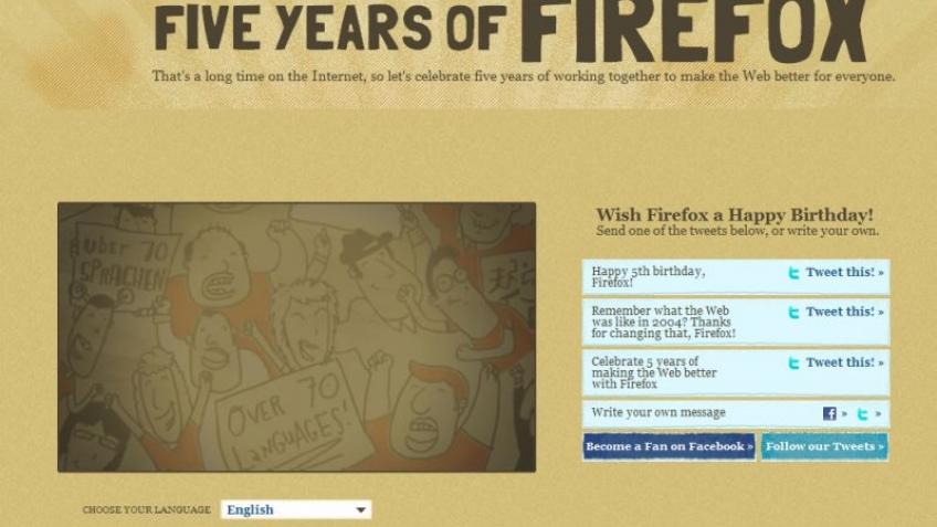 Браузеру Firefox исполнилось пять лет