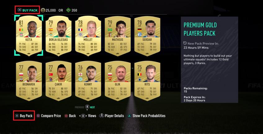 В FIFA временно появились наборы для режима Ultimate Team с предпросмотром2
