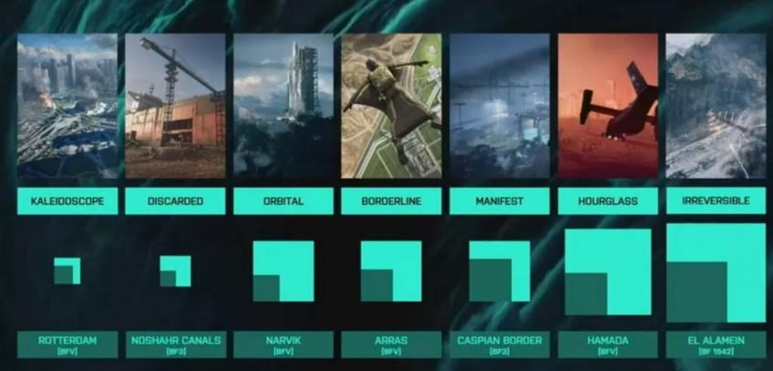 Тёмный квартат — размер карты из прошлой части. Яркий— из Battlefield 2042.3