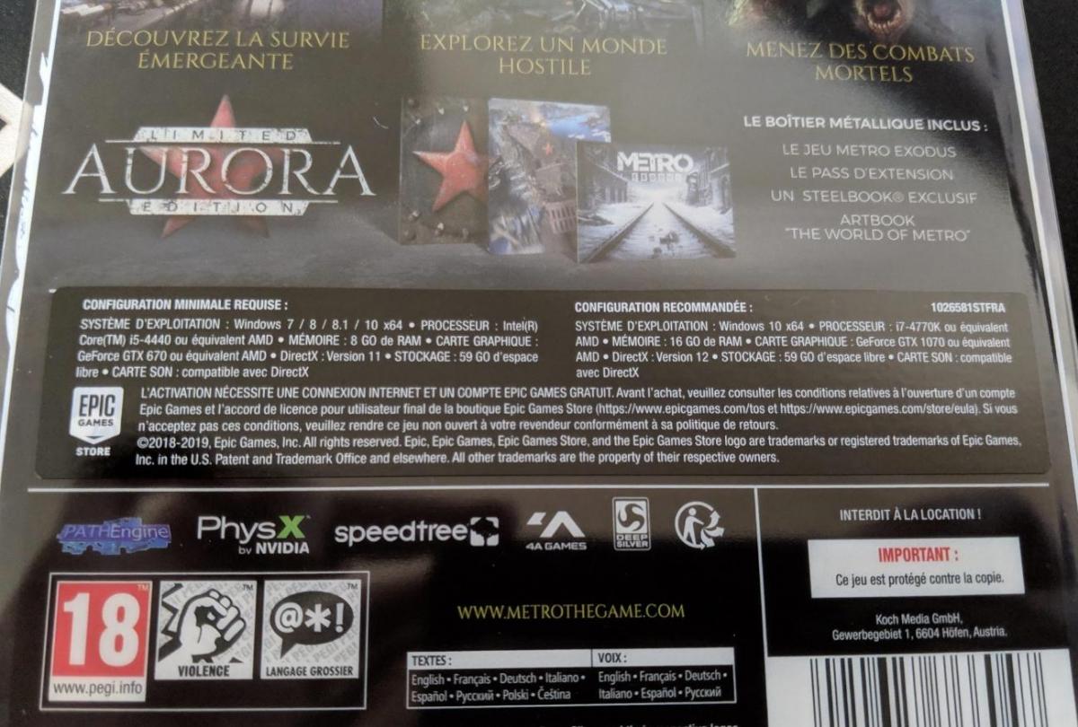 На коробке Metro: Exodus для РС нашли упоминание Steam под стикером Epic Games Store