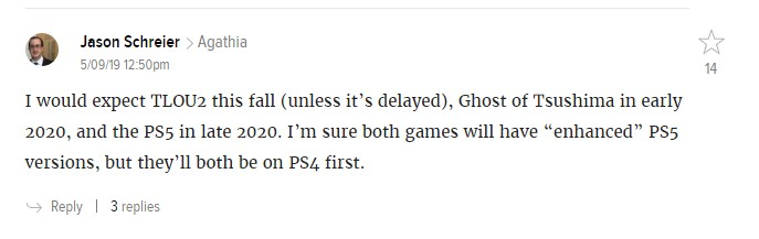 СМИ: The Last of Us: Part II ожидается осенью 2019 года, а Ghost of Tsushima — в начале 2020-го