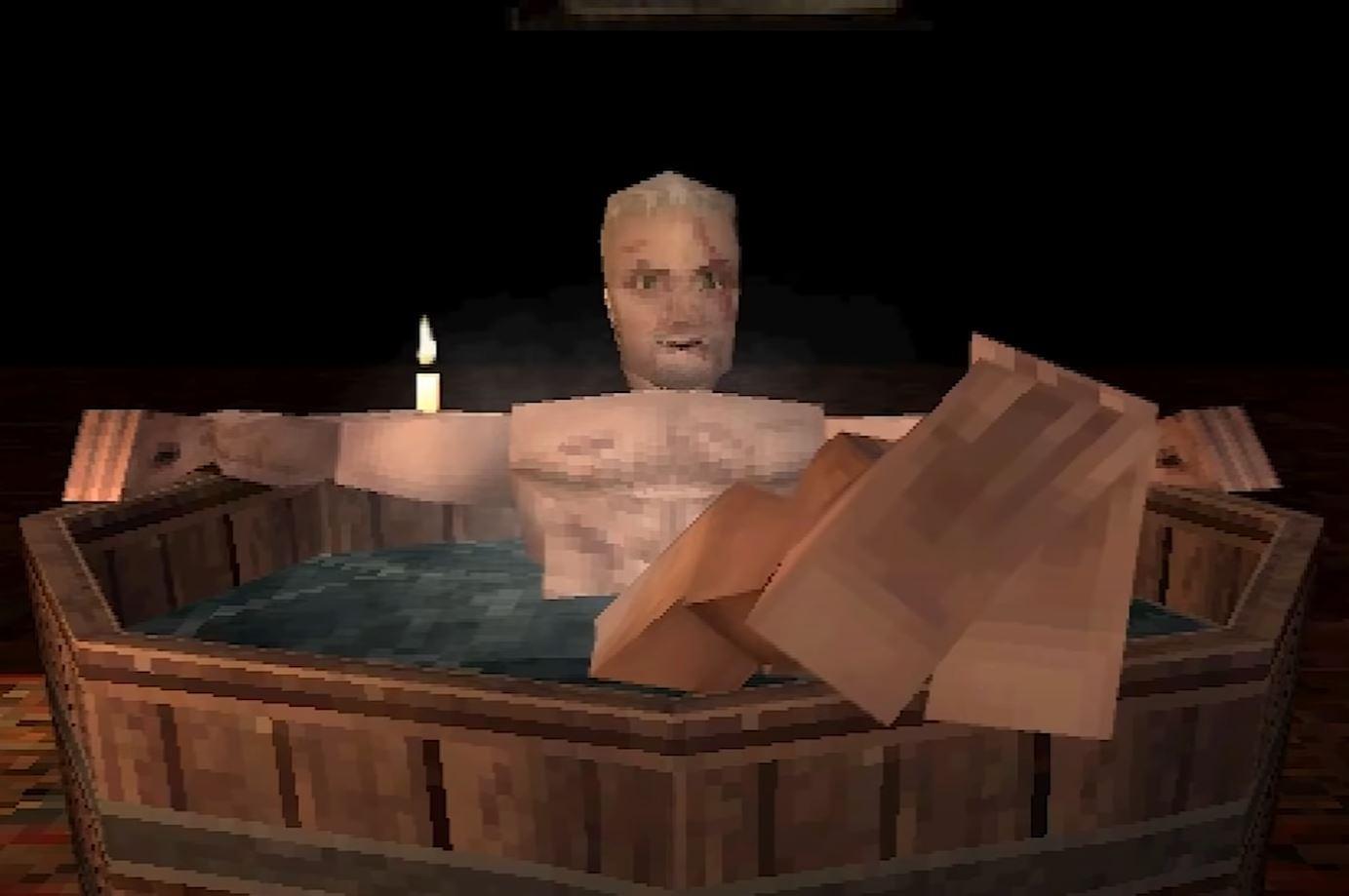 Сцену с ванной из «Ведьмака 3» переделали в стиле игры для PS1