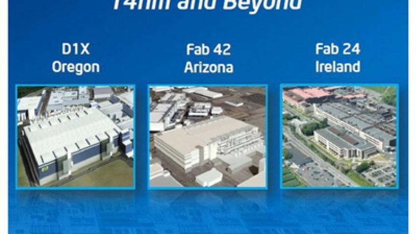 Intel начнет выпуск 14-нм чипов в 2013 году