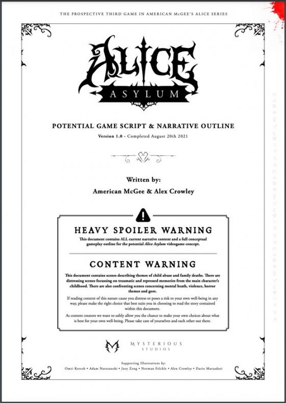 Американ МакГи опубликовал сценарий новой «Алисы» — Alice: Asylum1