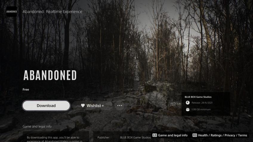 Сегодня запустят тизер-приложение Abandoned для PS51