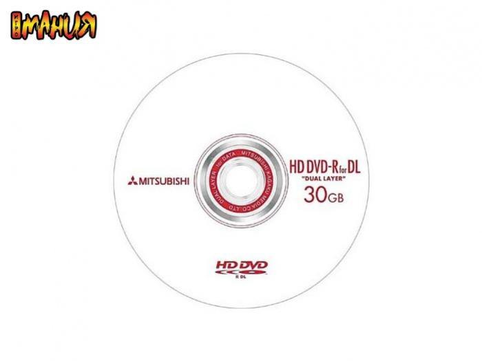 Двухслойные болванки HD DVD от Mitsubishi