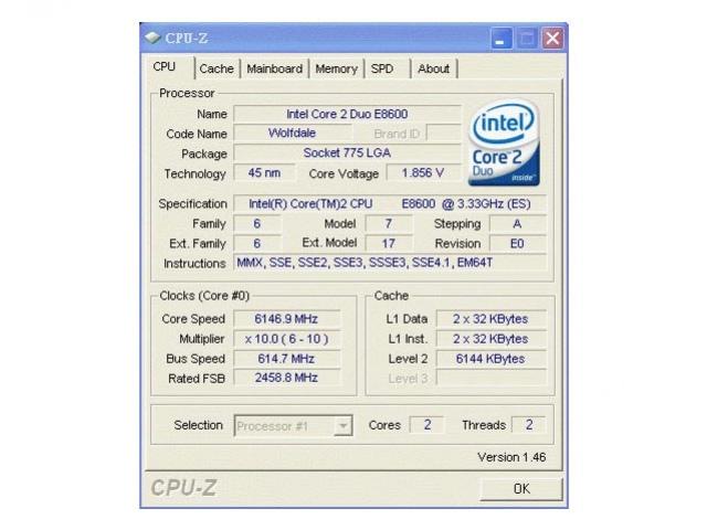 Core2 Duo разогнали до6,146 ГГц